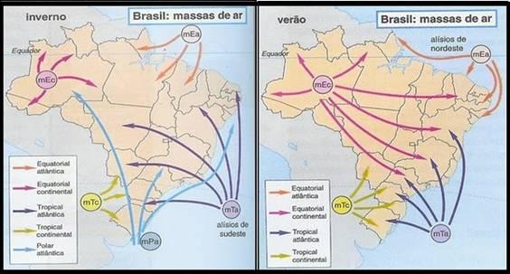 Resultado de imagem para fotos de massas de ar no clima do Brasil