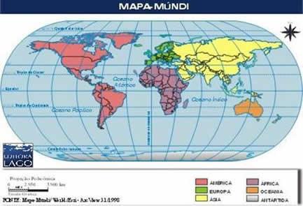 mapa dos oceanos e continentes Continentes, mares e oceanos   Só Geografia mapa dos oceanos e continentes